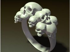 Skull Ring size 6- by watshsname Like 3D printed #jewelry? Morpheus custom makes jewelry from images using 3d printing technology http://www.morphe.us.com/
