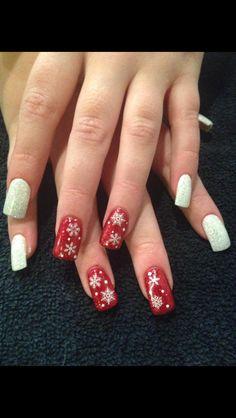 Seasonal Christmas Nails!! #sparkle #red&white