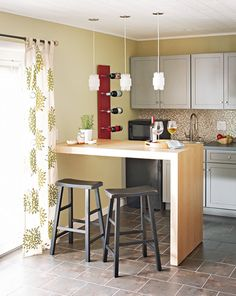 This is a cute idea for a simple bar with stools... Inexpensive to create without looking cheap or chintzy.