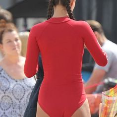 Ilfenesh Hadera in Red Swimsuit on the Set of 'Baywatch' in Florida