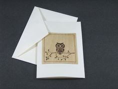 Blank Greeting Card  Wood Pyrography  Owl by bkinspired on Etsy, $6.00