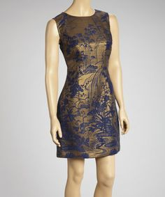 Take a look at this Navy & Gold Wool-Blend Sheath Dress by Samuel Dong on #zulily today!