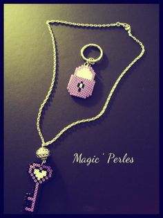 Purple and black lock keyring and key neckace hama perler by Alice Tobbi