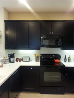 Kitchen Cabinets Black Appliances grey cabinets - black appliances - silver hardware - full tile
