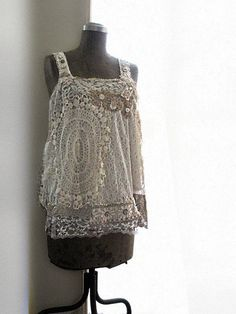For inspiration, no tutorial:  Vintage Lace, White, Gypsy Top, Gold, Beaded, Romantic, Bohemian Gypsy