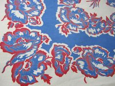 Vintage POPPIES TABLECLOTH Blue Red Poppy Border Print by LavenderGardenCottag