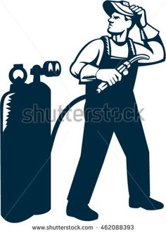 Illustration of welder worker standing with visor up looking to the side holding welding torch with tank viewed from front set on isolated white background done in retro style. #welder #woodcut #illustration