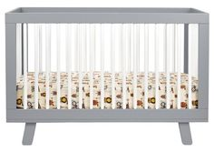 Babyletto Hudson 3-in-1 Convertible Crib w/ Toddler Rail - Grey/White, model no: M4201-GW, Price: $ 399.99