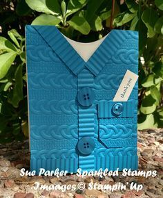 Instructions for making a sweater card using Stampin' Up! Cable Knit Embossing Folder