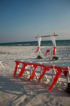 Coral beach wedding setting :)