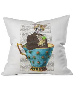 "Deny Designs Coco de Paris Cat in a Cup 2 16"" Square Decorative Pillow - Decorative & Throw Pillows - Bed & Bath - Macy's"