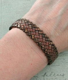 Linda's Crafty Inspirations: Bracelet of the Day - Half Tila Herringbone - Topaz