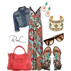 I love the dress. (Pretty colors and design in the fabric)and the shoes to match, and the jean jacket to make it casual