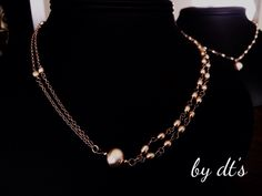 Double Layer #Pearls Necklace with Rosegold