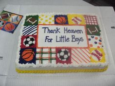 Sports themed Baby Shower - This is my first official cake that I received money for!  They wanted the cake to match the napkins being used.