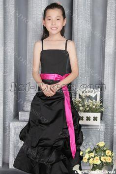 Romantic Black and Hot Pink Junior Bridesmaid Gown 2786:1st-dress.com