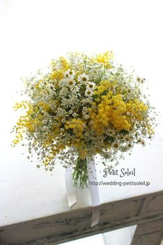 Rustic Hand Tied Wedding Bouquet Arranged With: White Gypsophila (Baby's Breath), White/Yellow Chamomile Daisies, Yellow Mimosa Flower (Acacia)