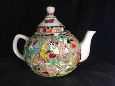 Butterfly Garden Mosaic Art Teapot by Mosaicsmostly on Etsy
