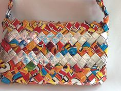 Candy Gum Wrapper Craft Handbag Purse Metallic Folded Interlocked Small Recycle #Unknown #Baguette