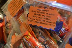 "Coach gifts Candy treat bag: Play ""Smart"", Score ""Mounds"" of Points, ""Crunch"" the Lions, ""Burst"" their bubble, you are worth Grand"" Football Treats, Football Spirit, Football Cheer, Youth Football, Basketball Teams, Baseball, Football Favors, Football Season, Basketball Gifts"
