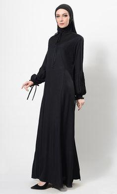 East Essence Abaya Dress  -  at PlusSizeDesi.com #psdesi #plussize #plussizedesi #desiclothing #psd Modest Wear, Modest Outfits, Black Abaya, Kaftan Style, Pakistani Outfits, Casual Wear, High Neck Dress, Plus Size, Psd