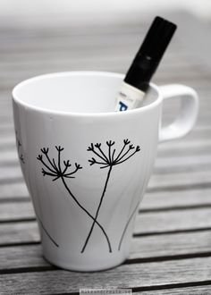Make your own mugs using a porcelain pen