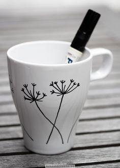 Make your own mugs using a porcelain pen