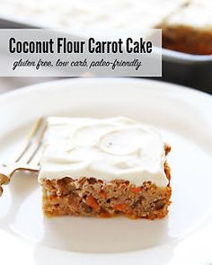 This moist carrot cake is made with coconut flour, which makes it gluten free, low carb and even paleo-friendly. A simple cream cheese frosting makes a perfect topping.Baking with coconut flour can be...