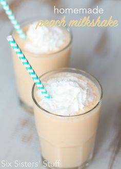 Homemade Peach Milkshake from SixSistersStuff.com