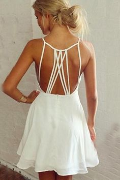 Available @ http://DollarTshirt.com White Back Hollow-out Spaghetti Strap A-line Sleeveless Dress