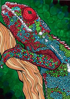 Cosmogenic Chameleon (Colorful Psychedelic Trippy Rainbow Panther Chameleon Drawing in Copic Marker). $9,00, via Etsy.