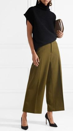 Stitch Fix Stylist: Slike søte bukser med brede ben. Komplette Outfits, Fall Outfits, Casual Outfits, Fashion Outfits, Womens Fashion, Fashion Trends, Cullotes Outfit Casual, Fashion Hacks, Grunge Outfits