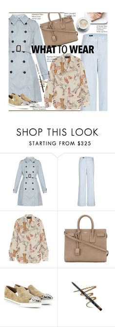 """Casual Chic - Pretty Pastel Trench Coats"" by beebeely-look ❤ liked on Polyvore featuring Weekend Max Mara, Jil Sander Navy, Rochas, Yves Saint Laurent, Miu Miu, Avon, pastels, miumiu, SpringStyle and totebags"