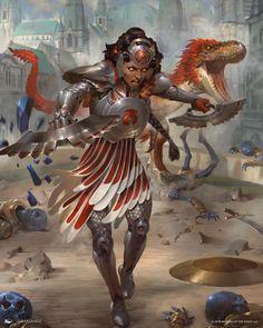 MtG Art: Huatli, Heart of the Sun from War of the Spark Set by Lius Lasahido - Art of Magic: the Gathering Superhero Characters, Fantasy Characters, Female Characters, Fantasy Races, High Fantasy, Fantasy Inspiration, Character Inspiration, Character Creation, Character Art