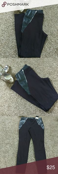 """Black Skinny Pants with Faux leather NWT pants!!! L:38 1/2""""  W:29 H:34 a.n.a Pants"""
