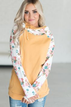 DoubleHood™ Sweatshirt - Mustard Floral
