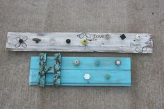 I made these 2 boards with my friend, Lori Hecht.  They are recycled barnwood and random knobs.  We are planning on hanging necklaces from them.  Saw the idea on Pinterest and then did it!