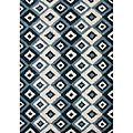 Metro IKAT pattern Hand Made Orion Blue New Zealand Wool Rug 5x8 | Overstock.com