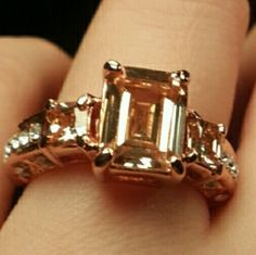 Ring Cut rectangle ring zircon ring 18K Rose gold ring women size 9 champagne color Jewelry Rings