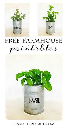 Watercolor Printables | Farmhouse Style Herb Pots | Free printables to make DIY wall art or use for screensavers, cards, crafts