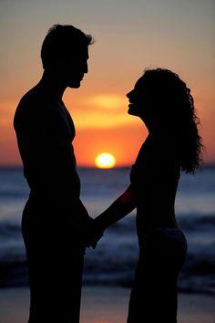 Sunset beach with love: