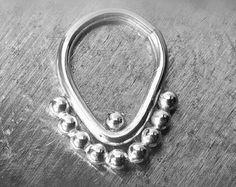 Tribal SEPTUM / Nose / Belly Navel Ring Hoop 16 gauge 16 ga Sterling Silver or 14k Gold Helix, Tragus, Cartilage, Nipple, Nose, Body Jewelry