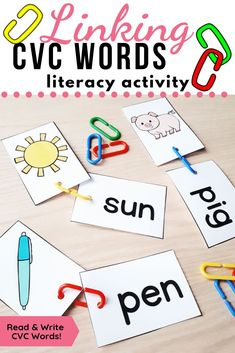 Practice sounding out words, writing words and reading words. This simple literacy center is perfect for introducing CVC words. Use it during guided groups, sensory bins, work bins, morning work or small groups. Literacy Bags, Literacy Skills, Literacy Activities, Kindergarten Centers, Literacy Centers, Kindergarten Classroom, Classroom Ideas, Reading Words, Writing Words