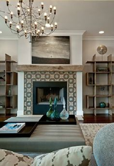 pattern tiled fireplace, natural wood mantle