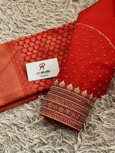 Princess Cut Blouse, Simple Blouse Designs, Hand Designs, Red Blouses, Embroidered Silk, Embroidery, Studio, Instagram, Bb