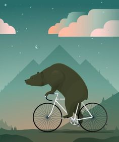 Ah. . . He Couldn't BearTo Be Parted From His Bike.... ~ c.c.c ~ Bicycle Graphic Design