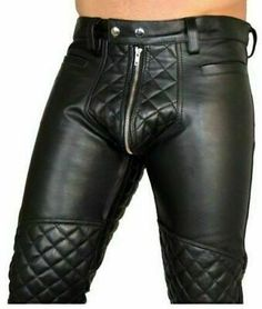 Men's Real Leather Bikers Pants Quilted Panels Double Front & Back Zips Pants Quilted Leather, Cowhide Leather, Men's Leather, Leather Corset, Mens Leather Trousers, Black Leather Pants, Leather Jackets, Biker Pants, Lederhosen