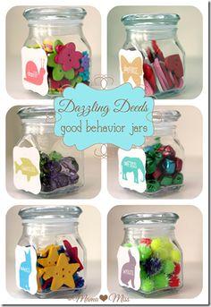 I'm a huge fan of the behavior jar to reward good behavior. Dazzling Deeds - good behavior jars mama♥miss Behavior Chart Toddler, Behaviour Chart, Kids Behavior, Child Behaviour, Behavior Rewards, Kids Rewards, Kids And Parenting, Parenting Hacks, Positive Behavior