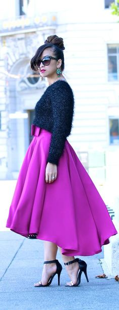 black fuzzy sweater | ktrstyle.com | Falling for Fuchsia
