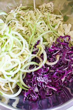 This beautiful apple and cabbage slaw is sweet, bright and crisp, the perfect side dish to any meal and great to bring to a potluck.